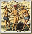 Pegando oro en polvo sobre el cacique que gobernaba y que tenía el honor de lanzar el oro a la laguna