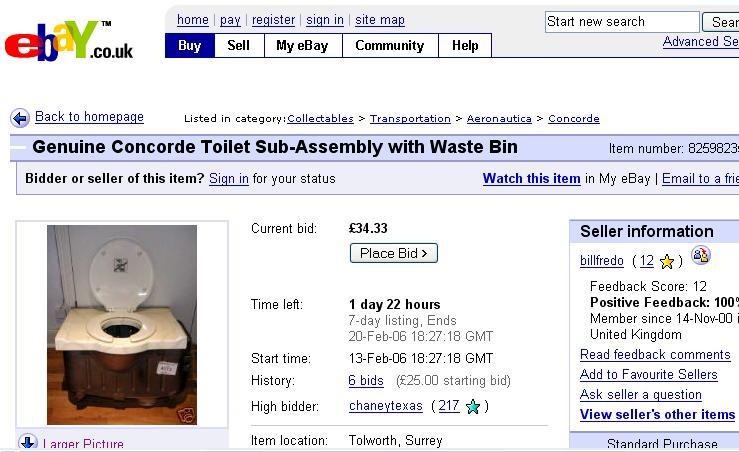 die luftfahrt ebay concorde toilette und abfallbeh lter. Black Bedroom Furniture Sets. Home Design Ideas