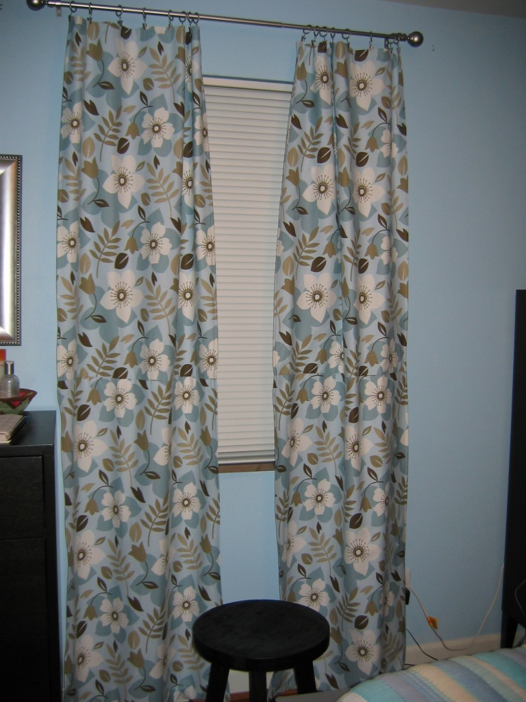brown and blue curtains