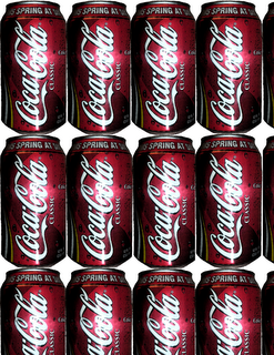 a Coca~Cola themed homage to Andy Warhol's soup cans