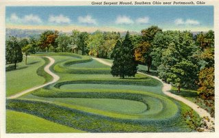 Serpent Mound, near Peebles, Ohio, on a post card