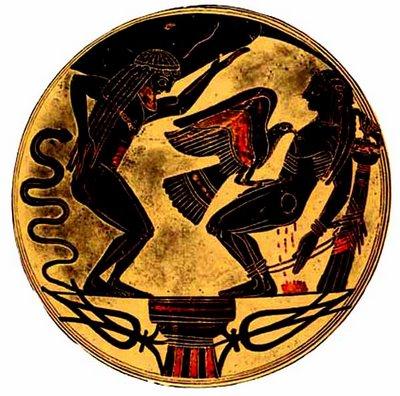 Prometheus é acorrentado à uma rocha por Zeus