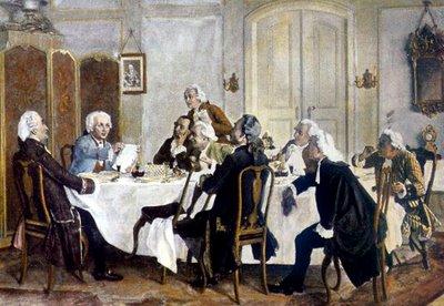 Kant à mesa conversando com amigos convidados para o chá da tarde. (Pintura de Emil Doerstling - Aprox. 1900)