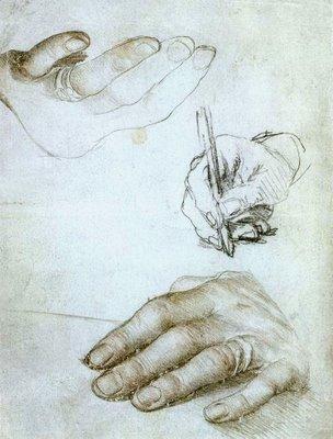 Estudo sobre as mãos de Erasmo de Rotterdam - 1469-1536 - De Hans Holbein the Younger - Acervo do Museu do Louvre - Paris