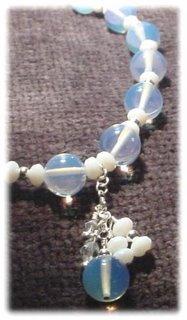 White Beaded & Sterling Silver Necklace