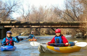 Masaaki, Bruce and Yuriko kayaking on Cache Creek