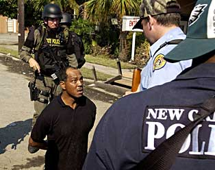 Arrest of a man believed to be Lance Madison at the foot of the Danziger Bridge, Sept.4,2005