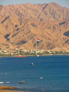 the jordanian super flag flying high in aqaba