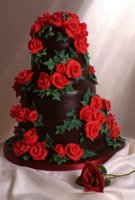 A tower of chocolate cake and a bundle of red roses for you Elizabeth!