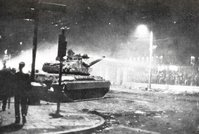 The night the tanks crashed down the main steel entrance of the Athens Polytechnic along with students still climbed on it