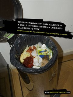 This bin swallows up more calories in a single day than a Nigerian child gets in a complete week.