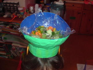 Pearl's salad bowl hat - with real salad