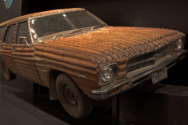 Corrugated iron car