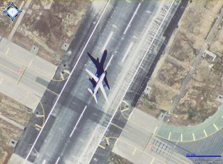 Plane take-off in SFO as shown on MSN Virtual Earth