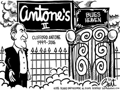 Title: Clifford Antone; Text: (Antone at the pearly gate with new signage reading:) Antone's II (and) Blues Heaven