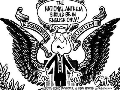 Title: English Anthem; Text: (Bush standing before U.S. Seal with the words E Pluribus Unum, says)