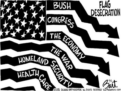 Title: Flag Desecration; Text: Heading: 'Flag Desecration' (U.S. flag with stripes representing chart bars pointing downward, labelled:) Bush, Congress, The Economy, The War, Homeland Security, Health Care