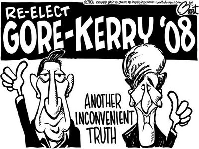 Title: Inconvenient Truth; Text: (Al Gore and John Kerry giving 'thumbs up' sign under heading:) Re-elect Gore-Kerry '08 (and) Another inconvenient truth
