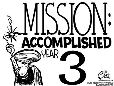 Title: Mission Accomplished 3; Text: (Man in turban lighting fuse attached to text:) Mission: Accomplished Year 3