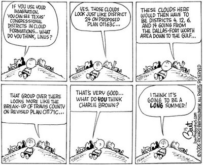 Title: Redistricting Plans 2006; Text: (Six panels showing Peanuts characters Lucy, Linus, and Charlie Brown lying on a hillside looking at clouds. In a parody of the most popular Peanuts strip of all, Linus sees complex images — Texas voting districts.)