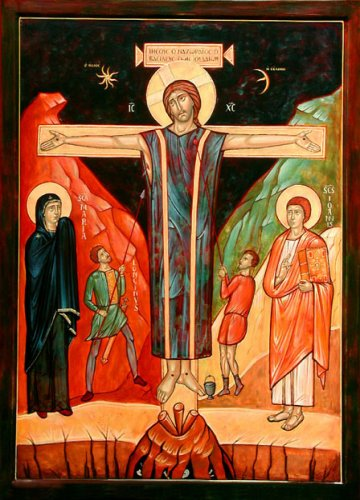 crucifixion glorieuse et paisible, art roman, icone