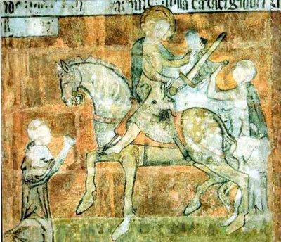 saint Martin de Tours partageant son manteau, fresque de la cathédrale de Tours, France