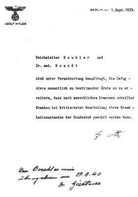 ordre d'Hitler en 1939 de pratiquer l'euthanasie sur les malades et handicapés