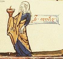 sainte cecile enluminure detail heures de la Vierge DenHaag KB76G17 folio 138r