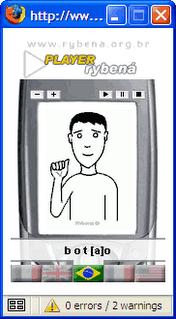 exemplo do aplicativo que transforma texto em lingua de sinais