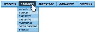 menu anterior com o link Educação apresentando suas 7 subopções. Evento gerado pelo ponteiro do mouse sobre o item.