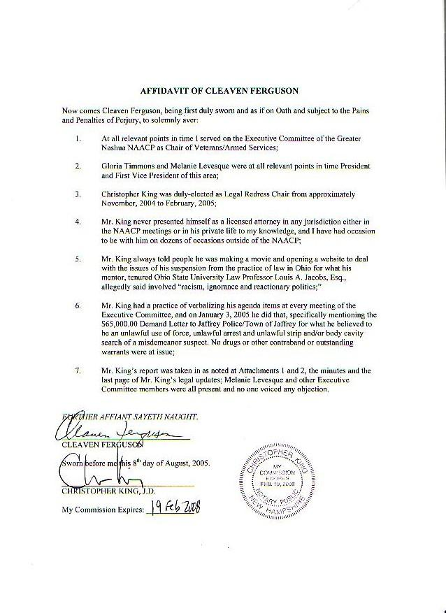Chris Kings First Amendment Page August 2006 – Affidavit of Truth Template