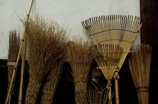 Rakes and brooms are made from bamboo