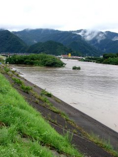 Flooded river, rising, Shimane.