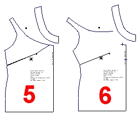 Next i cut the band from the bodice 3 and extended the dart to the
