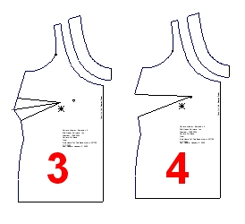 rotated the side bust dart to the neckline (5) and then spread/slash