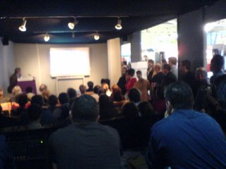 Standing room only as Miles Berry presents (taken from outside the Software Presentation Theatre)
