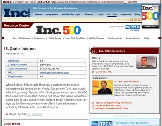 Gratis Internet rating on INC 500 - the 18th fastest growing company!