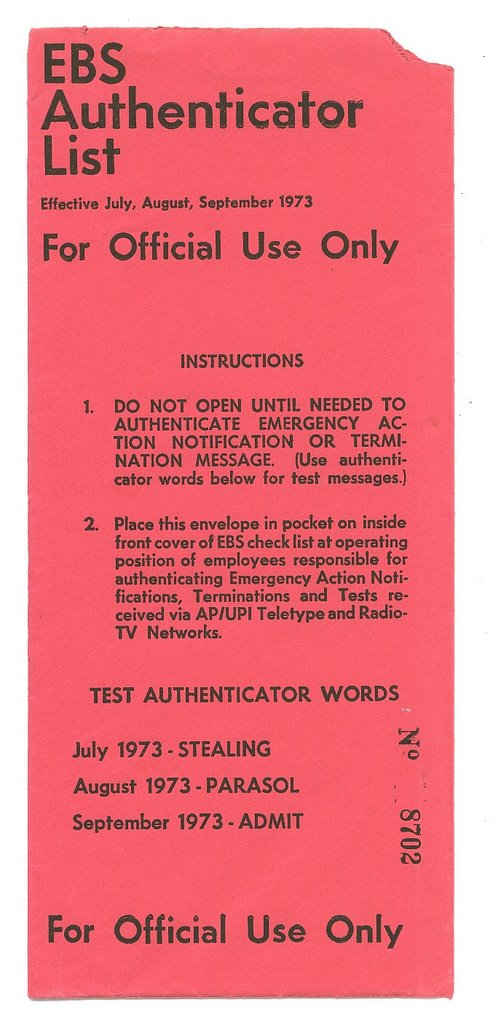 ARCANE RADIO TRIVIA: The EBS Authenticator Word List