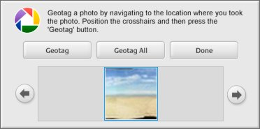 Picasa's geotagging dialogue