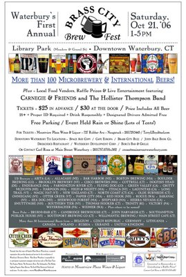 Brass City Brew Fest, beer, library park, October 21