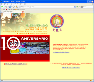 Screenshot de la página de la Expo YES.