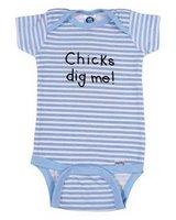 """Chicks dig me!"" Baby Boy Onesie"