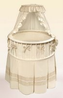 Round Baby Bassinet - Includes Ecru & Beige Gingham Bedding