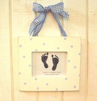 Foot Print Frame - Blue Polka Dot