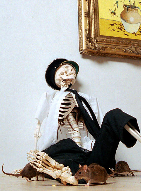 Skeleton from Banksy's Crude Oil Exhibition
