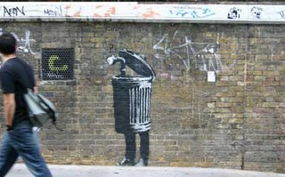 Banksy Street Art Stencil work on Brick Lane London. Photo ©Mark Rigney / Hookedblog