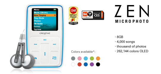 Hdd/mp3 player 4gb creative zen micro, touch pad, sync, black