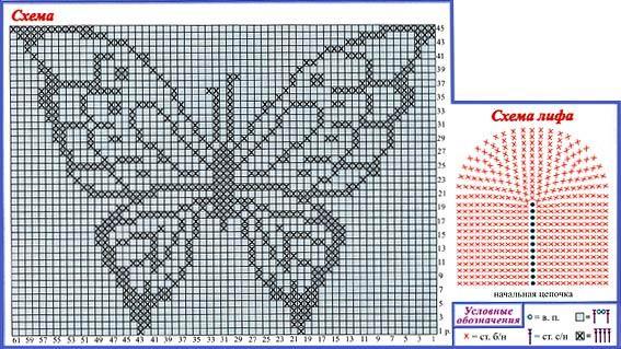 Узоры для вязания крючком бабочка 479