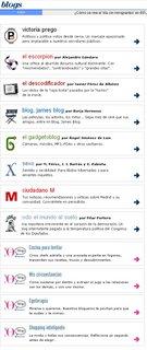 Captura de pantalla de los blogs que tiene elmundo.es
