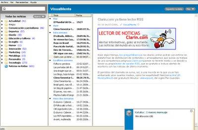 Captura de pantalla de Feedreader después de dos días sin actualizarlo: ¡601 anotaciones nuevas!